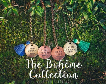 Boheme Collection | Free Spirit Hippie Mama Gypsy Soul Long Layering Necklace | Hand-stamped Distressed Brass Pendant Boho Jewelry Tassel