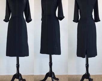 1960's Suzy Perette Inky Black Secretary Dress with Peter Pan Collar | Size Large