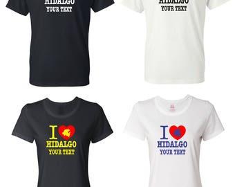 I Love Hidalgo Mexico T-shirt with FREE custom text(optional)