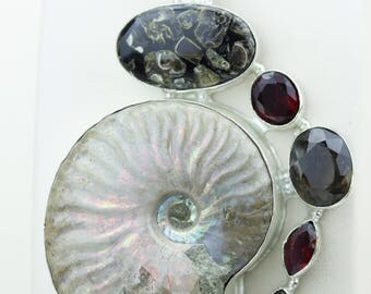 Extra Large Size Ammonite Fossil Turritella Fossil Smokey Topaz 925 S0LID Sterling Silver Pendant + 4MM Snake Chain p4278