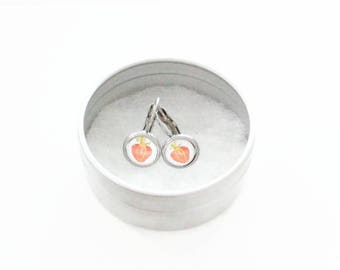 CLEARANCE! Children clip - stem stainless steel - glass 6 mm - earring handpainted - strawberries - hypoallergenic / Kid