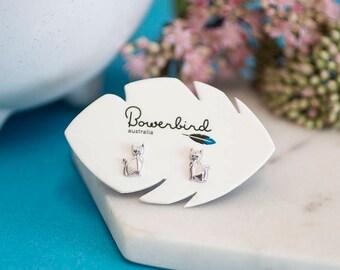 Siamese Cat Origami Rhodium Enhanced Sterling Silver Stud Earrings