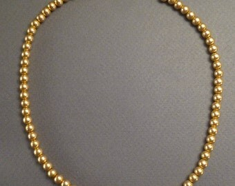 """Antique 19th Century 14K Gold Beads #1 Strung on Silver 14.25"""" long #1"""