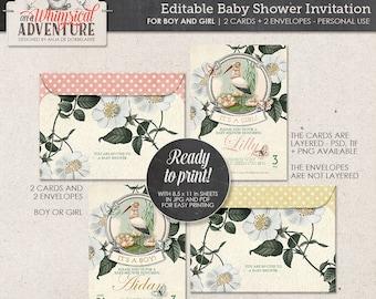 Editable printable baby shower invitation, digital download, layered, it's a girl, it's a boy, stork, vintage ephemera, printable envelope
