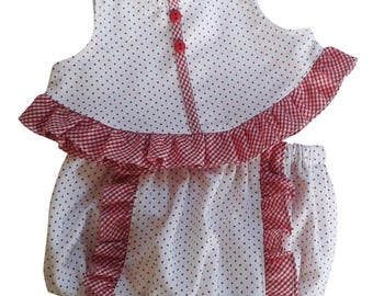 Red Polka Dot Twill and Ruffles Summer Swing Top and Baby Bloomers
