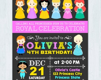 Disney Princess Invitation, Disney Princess Birthday Invitation, Princess Invitation, Princess Birthday Invitation, Disney Princess Party