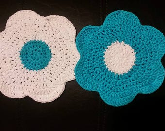 Blue and White Pot Holders, Cotton Dish Cloths, Spring Flower Power, Blue Kitchen, Crochet Dish Cloth, Knit Dish Cloth, Flowers, Kitchen