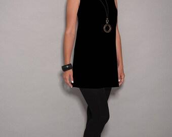Black tunic, a line dress, casual dresses, dress for women, sleeveless dress, women tunic tops , tunic tops for women, tunic shirt