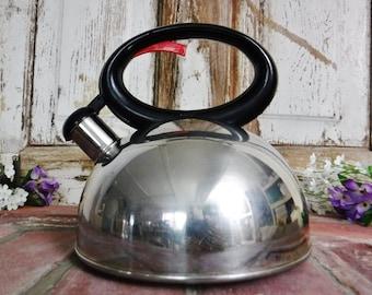 Tea Kettle/Whistling Tea Kettle/Metal Kettle/Stainless Steel Teapot/Retro Tea Kettle/Copco Whistling Kettle/Vintage