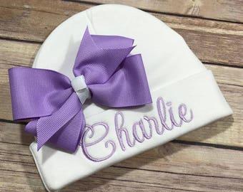 Personalized Baby Hat LAVENDER Baby Beanie Hat Monogram Baby Hat Baby Shower Gift Personalized Infant Hat Newborn Photo Newborn Hat