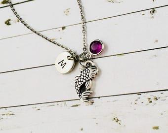 Koi Fish Necklace, Koi Pendant, Silver Koi Charm, Good Luck Necklace, Koi Fish Gifts, Personalised Good Luck Charm, Koi Jewelry, Birthstone
