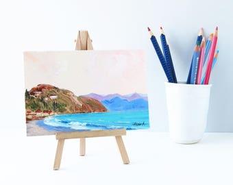 Sea art Oil painting miniature Small easel art Seascape painting Sea art Nautical painting Art gifts Original painting Shelf decor