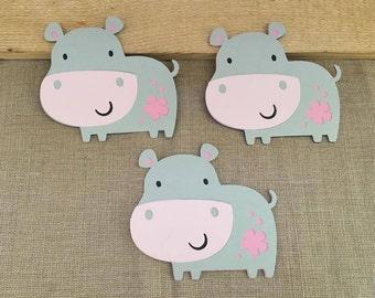 Hippo Die Cut Set of 3, Hippopotamus Die Cuts