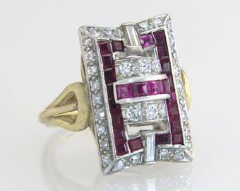 Antique 14K Two Tone Gold 2.40ct Genuine Diamond & Ruby Art Deco Dinner Ring