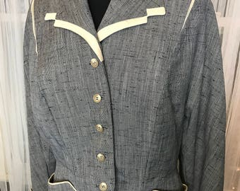 Vintage National Recovery Board Blazer, Grey Tweed with Cream Accent
