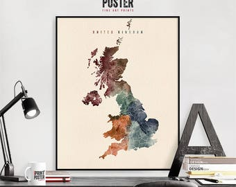 United Kingdom map wall art print, England map poster, travel poster, travel gift, home decor, watercolour, iPrintPoster