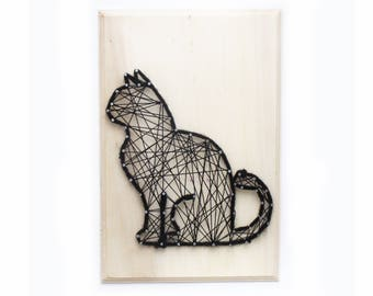 Fouinou, the curious cat - DIY Craft - DIY kit - String art kit - All included - creative kit