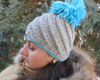 Hat with pom-poms, womens hat, girls hat, gray wool hat, chunky wool hat, winter hat women, Winter accessories, Hand knit hat,