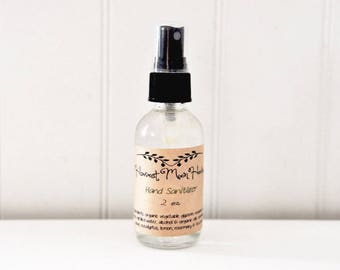 Hand Sanitizer Spray | Organic Hand Cleaner |  Moisturizing Anti-Germ Spray | Anti-Bacterial Cleaner |All Natural | 2 oz Glass Bottle
