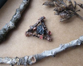small triangle copper witch pendant with pine branches and black tourmaline schorl