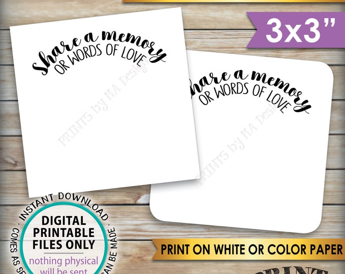 """Share a Memory or Words of Love Cards, Retirement Party, Birthday, Graduation Party, PRINTABLE 3x3"""" cards on 8.5x11"""" Sheet, Instant Download"""