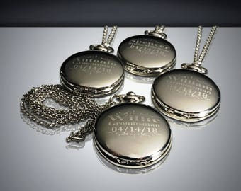 4 Groomsman gifts - Silver Stainless Engraved pocket watches - 4 Wedding party gifts - Personalized engraved watch for Usher & Officiant