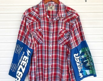 Weezer - Upcycled Pearl Snap Shirt - T-Shirt Sleeve Pearl Snap Shirt - Size 2XL