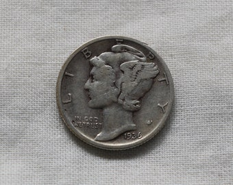 1936 Mercury Head Dime or Winged Liberty Head Dime. Silver dime. Shipping cost includes USPS tracking.