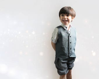 Reversible Vest, Linen, Cotton, Toddler waistcoat, Children, Snaps, Gentleman suit, Wedding, Baptism, Ring bearer, Baby boy shower gift idea
