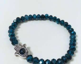 Natural Pearl Bracelet: Swarovski & Hamsa hand