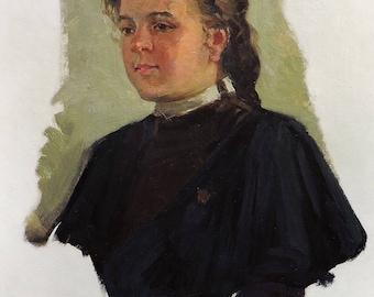 VINTAGE GIRL's PORTRAIT Original Oil Painting by Petukhov V. 1950's Female Portrait Mid Century Soviet art, Socialist Realism, One of a kind
