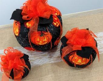 Fabric Pumpkins,Jack O Lantern,Pumpkin, Fall Decor, Halloween,Autumn Decor, Centerpiece, Halloween Decorations, Halloween Centerpiece,Fall