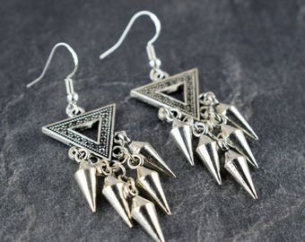 Bohemian silver earrings, Boho earrings, Chandelier earrings, Long earrings, Dangle earrings, Indian jewellery, Christmas gift, Gift for her