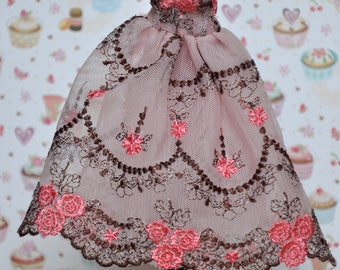 Pink lace dress and leather slippers for 24 cm dolls