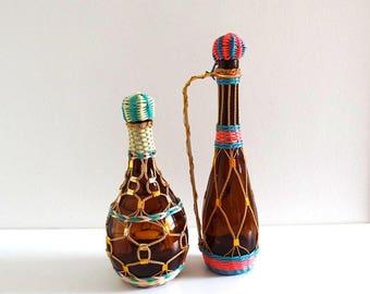 2 Retro Scoubidou Bottles - Vintage 60s Golden and Pink Braided Bottles