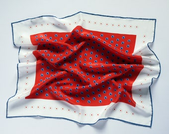 Polka Dot Bandana / Small Silk Scarf / White and Red Silk Scarf / Funky Scarf / Gift For Her