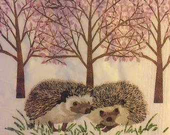 "3 Decoupage Napkins, Hedgehogs Forest Animals 13"" x 13"""