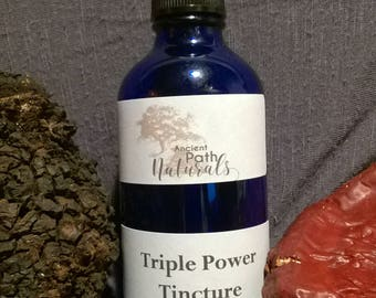 4oz or 2oz Triple Power Tincture Chaga, Reishi, Turkey Tail, Wild Harvested, Medicinal Mushrooms, Sustainable, Organic, Natural, Pure