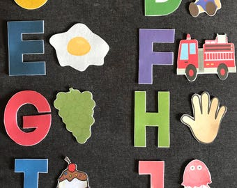 Alphabet and Matching Pieces Felt Set // Flannel Board //  Language // Learning // Teaching Set // Matching // Letters