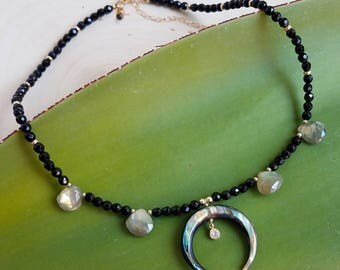 Abalone and Labradorite Double Horn Necklace