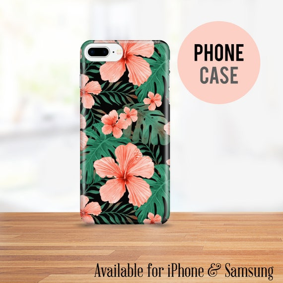 Hibiscus and Palm Leaves Floral Cell Phone Case - Available for iPhone and Samsung