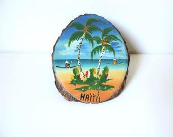 Vintage Haiti oil painting on wood log, Tropical scene, Exotic decor, home decor, Palm tree, Souvenir from Haiti, Beach scene, Summer decor