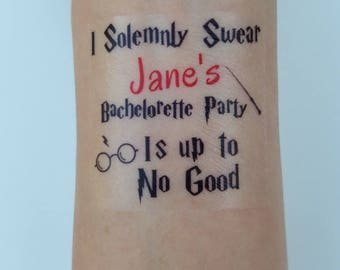 10 Bachelorette Party Favor Custom Bachelorette Temporary Tattoos Harry Potter Tattoo - Harry Potter Up to No Good