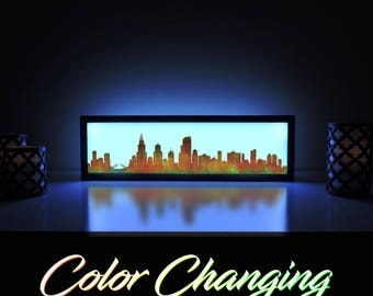 Chicago Skyline, Chicago Color Skyline, Chicago Skyline Light Up Picture, Chicago Skyline Sign, Chicago Abstract Art, Chicago Wall Art