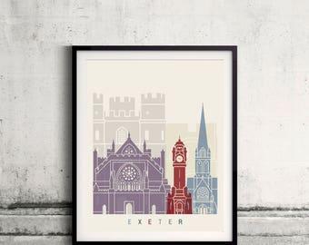 Exeter skyline poster - Fine Art Print Landmarks skyline Poster Gift Illustration Artistic Colorful Landmarks - SKU 2460