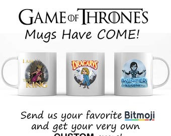 Game of Thrones Bitmoji Mugs, Game Of Thrones Mug, Bitmoji Mug, Gift for Game of Thrones Fan