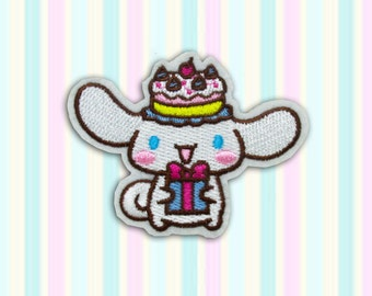 SANRIO Cinnamaroll Iron on Patch(M2), Sanrio Cartoon Applique Embroidered Iron on Patch Size 8.4(W)x6.5(H) cm