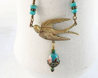 Flying Swallow Necklace, Brass Bird and Floral Cloisonne Necklace, Vintage Style, Turquoise Blue Czech Glass Bead Necklace