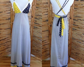 Vintage 1970s Triangle Top Eyelet, Floral and Striped Empire Waist Maxi Dress - Small/Medium