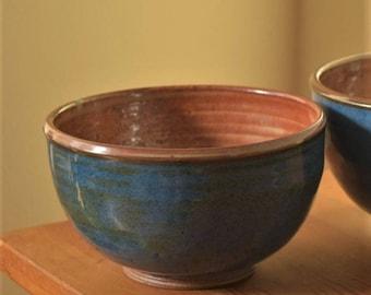 Blue Pottery Bowl, Pottery Soup Bowl, noodle  bowl by Fire Garden Pottery. 16oz. Shino and blue glaze, high fire stoneware pottery.